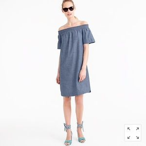 J Crew Off-the-shoulder dress in chambray